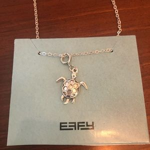 Effy silver tone turtle charm necklace